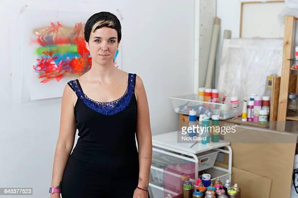 Artist at work in her studio