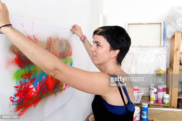 Artist at work in her studio