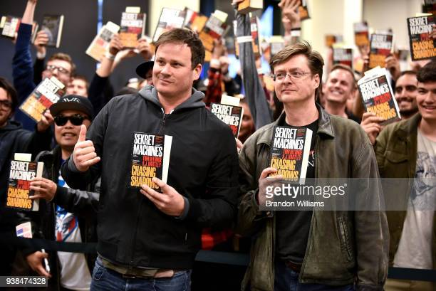 Artist / author Tom Delonge and author AJ Hartley sign and discuss their new book Sekret Machines at Barnes Noble at The Grove on March 26 2018 in...