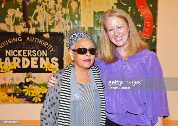 Artist Betye Saar and Colleen Criste attend MOCA's Leadership Circle and Members' Opening of Kerry aJames Marshall Mastry at MOCA Grand Avenue on...