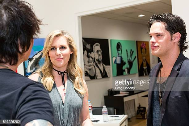Artist Billy Morrison Actress Abi Titmuss and Musician Ari Welkom attend the Gallery Opening Of 'Social Distortion A Capsule Collection Of Fine Art...