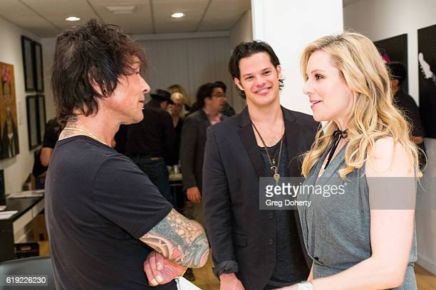 Artist Billy Morrison Musician Ari Welkom and Actress Abi Titmuss attend the Gallery Opening Of Social Distortion A Capsule Collection Of Fine Art By...