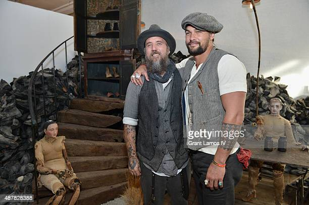 Artist Blaine Halvorson and actor Jason Momoa attend during the opening of Blaine Halvorson installation 'Walk Don't Run' at NYFW The Shows NYFW The...