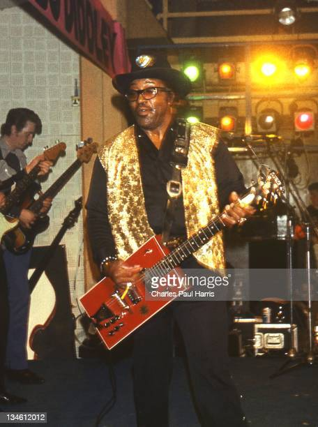 B artist Bo Diddley performs at The Royalty in Southgate on April 20 1978 in London England