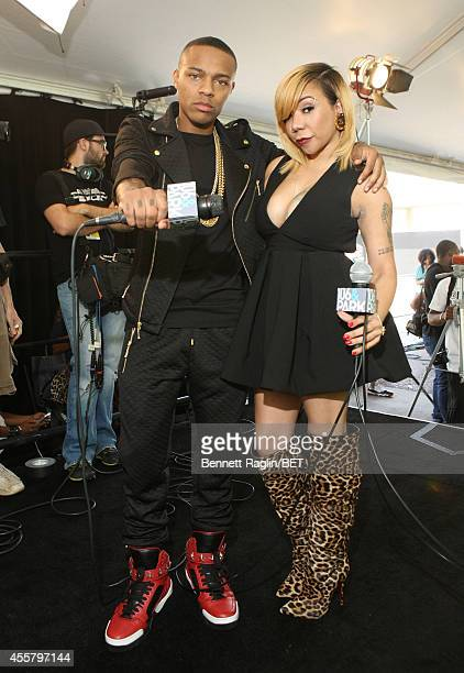 Artist Bow Wow and Tameka 'Tiny' Harris attend the BET Hip Hop Awards 2014 presented by Sprite at Boisfeuillet Jones Atlanta Civic Center on...