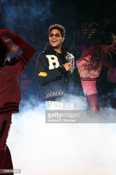 Artist Bryce Vine preforms during halftime of the game between the LA Clippers and the Los Angeles Lakers on March 8 2020 at STAPLES Center in Los...