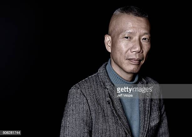 Artist Cai GuoQiang from the film Sky Ladder The Art of Cai GuoQiang poses for a portrait during the WireImage Portrait Studio hosted by Eddie Bauer...