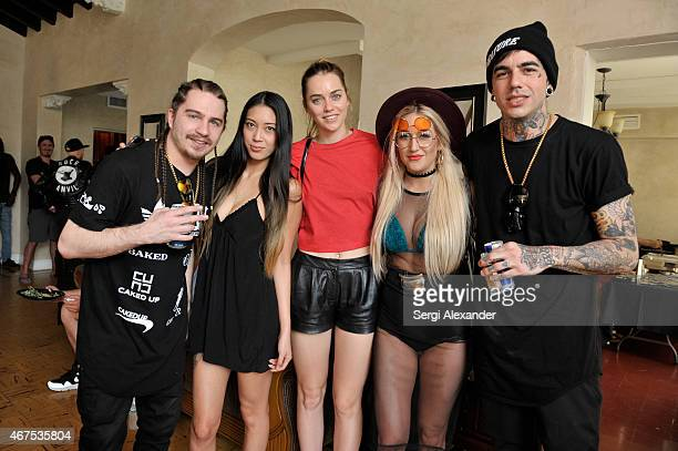 Artist Caked Up Sami Lin Tiernan Cowling Lori Lanford and artist Caked Up attend Dim Mak Miami House during Miami Music Week on March 25 2015 in...