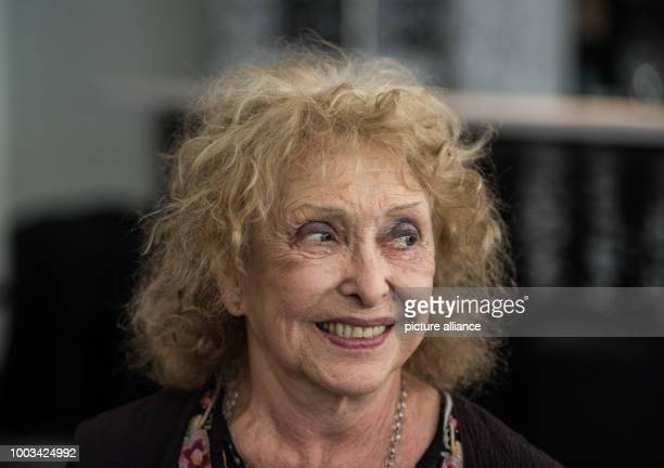 Artist Carolee Schneemann smiles during a press conference in Frankfurt am Main Germany 30 May 2017 The artist's work on gender roles sexuality and...