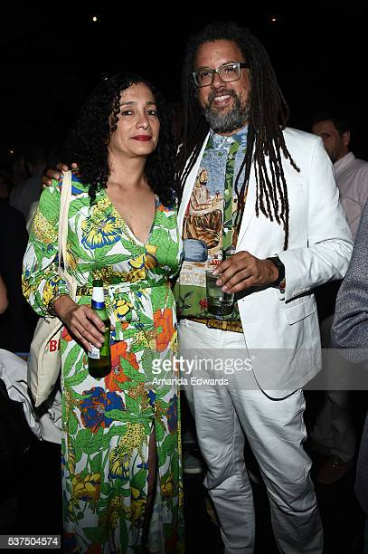 """Artist Carolyn Castano and writer Gary Dauphin attend the after party for the premiere of """"Lowriders"""" during opening night of the 2016 Los Angeles..."""