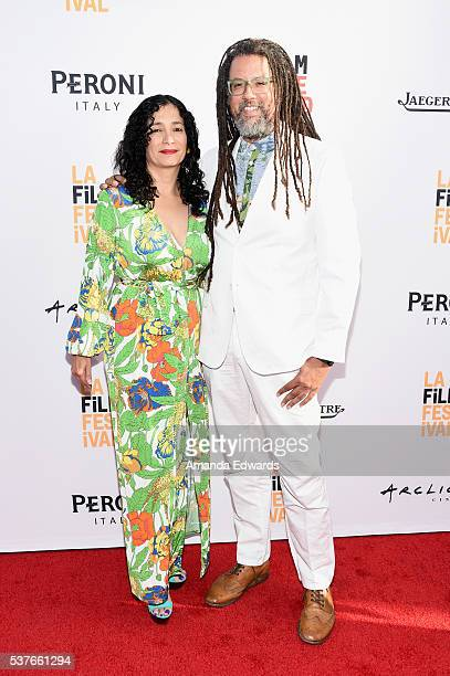 Artist Carolyn Castano and writer Gary Dauphin attend the premiere of 'Lowriders' during opening night of the 2016 Los Angeles Film Festival at...