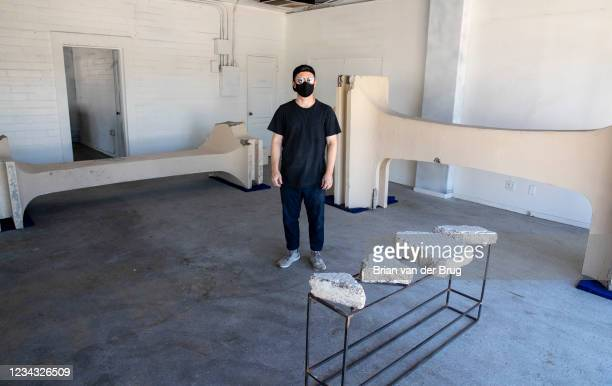 Artist Cayetano Ferrer stands with remnants of the now demolished LACMA buildings on Wednesday, July 28, 2021 in Pasadena, CA. Ferrer has preserved...