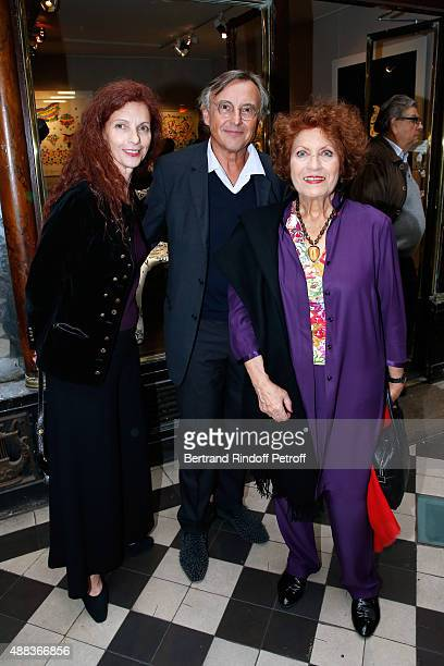 Artist Chantal Saccomanno Pierre Passebon and Actress Andrea Ferreol attend the 'Paintings Poems from Tahar Ben Jelloun Furniture Scriptures from...