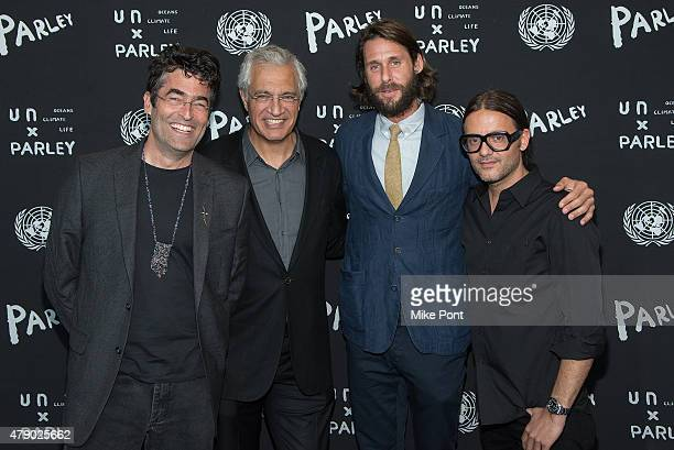Artist Chris Jordan, filmmaker Louie Psihoyos, explorer David de Rothschild, and Founder of Parley for the Oceans Cyrill Gutsch attend the President...