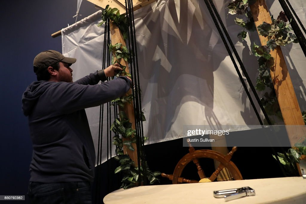Artist Chris Treggiari works on his 'Ghost Ship' art installation at the Oakland Museum of California on September 21, 2017 in Oakland, California. Local artists Chris Treggiari and Peter Foucaulton are building a memorial to honor their colleague Alex Ghassan and the dozens of people who died in the 2016 'Ghost Ship' warehouse fire. The installation will be part of the Oakland Museum of California's 23rd annual Dias de Los Muertos (Days of the Dead) Exhibition that runs from October 18, 2017 through January 14, 2018.
