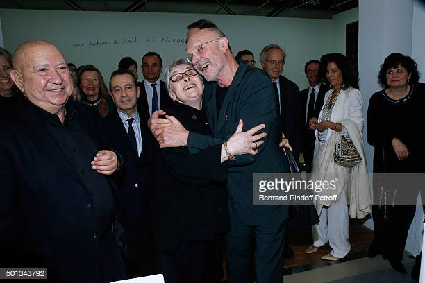 Artist Christian Boltanski Anne d'Offay and Artist Anselm Kiefer attend the Anselm Kiefer's Exhibition Press Preview held at Centre Pompidou on...