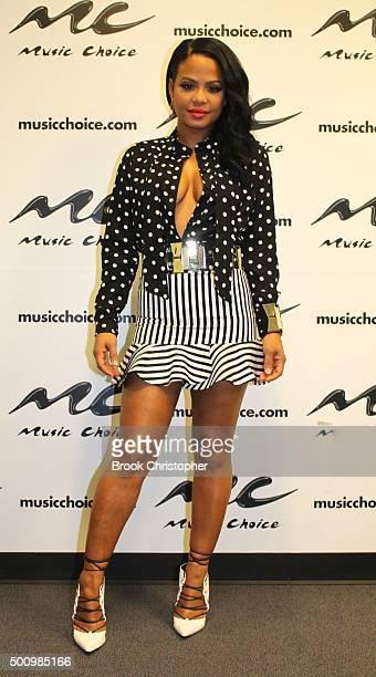 Artist Christine Milian visits 'Music Choice' on December 11 2015 in New York City