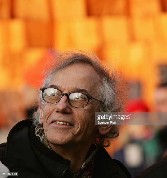 Artist Christo looks at his artwork The Gates Central Park New York 19792005 at Central Park February 12 2005 in New York City The Gates will be...