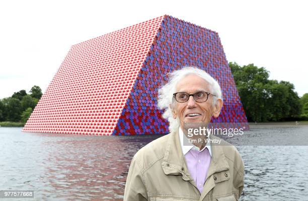 Artist Christo unveils his first UK outdoor work a 20m high installation on Serpentine Lake with accompanying exhibition at at The Serpentine Gallery...