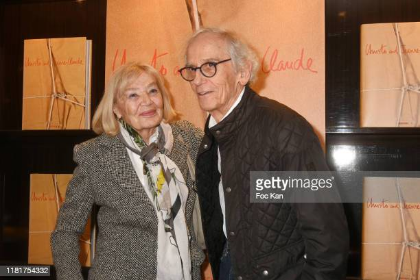 Artist Christo Vladimirov Javacheff and his guest attends the Christo Book Signing at Taschen Paris Store on October 17 2019 in Paris France