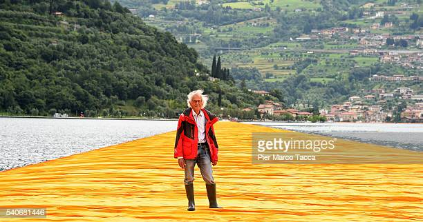 Artist Christo Vladimirov Javacheff attends the presentation of his installation the 'The Floating Piers' on June 16 2016 in Sulzano Italy