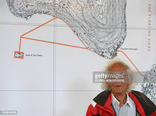 Artist Christo Vladimirov Javacheff presents his monumental installation The Floating Piers he created with late JeanneClaude on June 16 2016 during...