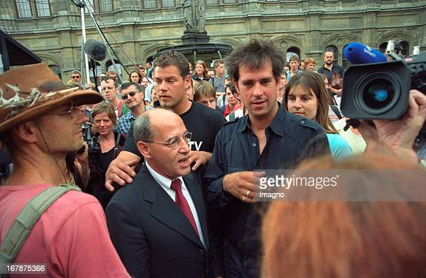 Artist Christoph Schlingensief and the Geman politician Gregor Gysi at the Vienna Festival presenting Schlingensiefs performance BITTE LIEBT...