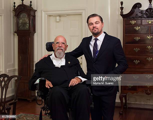 Artist Chuck Close and actor Leonardo DiCaprio attend South by South Lawn a White House festival of ideas art and action before the US premiere of...