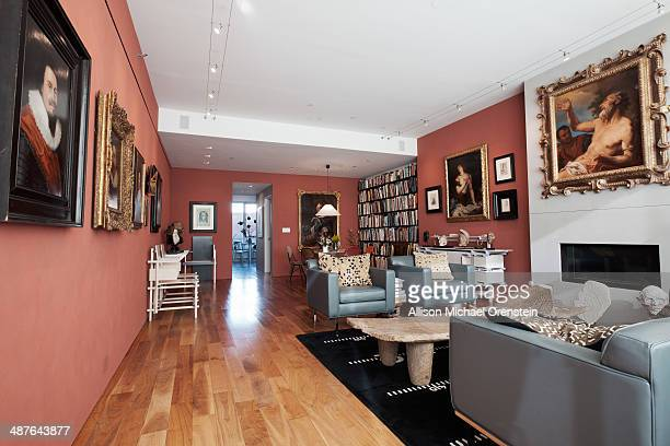 Artist Chuck Close's home is photographed for Wall Street Journal on February 28 2014 in New York City Mr Close's apartment occupies an entire floor...