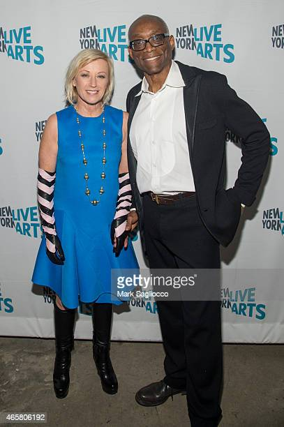 Artist Cindy Sherman and Bill T Jones attend the New York Live Arts 2015 Gala at SIR Stage37 on March 10 2015 in New York City