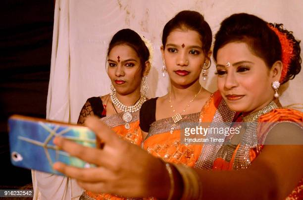 Artist click selfie during Tamasha Festival organised by Cultural Ministry near CIDCO Exhibition Center Vashi on February 8 2018 in Navi Mumbai India