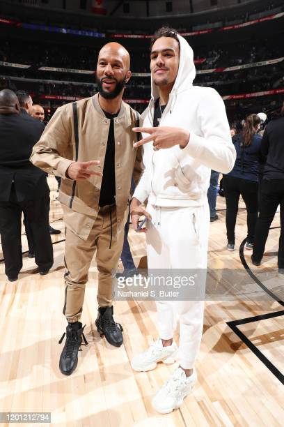 Artist Common and Trae Young of the Atlanta Hawks poses for a photo during the 2020 NBA AllStar ATT Slam Dunk on February 15 2020 at the United...