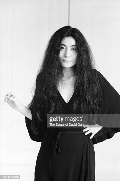 Artist composer and singer Yoko Ono poses for a portrait on November 11 1974 at her home at the Dakota apartment building in New York City New York