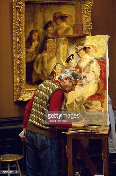 Artist Copying Paintings in the Louvre