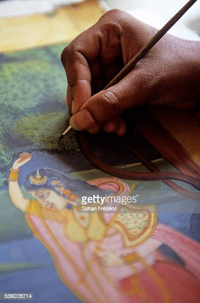 Artist Creating Indian Miniature Painting