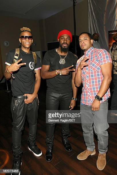 Artist Curtis Fields musician Mali Music and photographer Johnny Nunez attend the BET Music Matters Press Play event Powered by Monster at TWELVE...