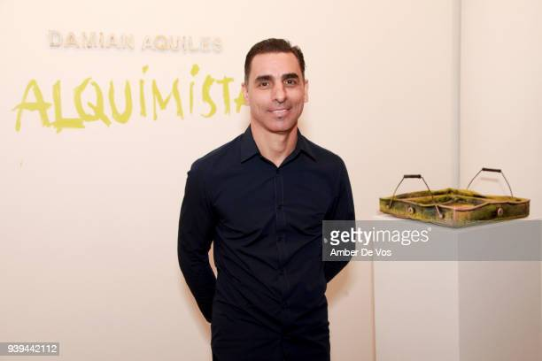 Artist Damian Aquiles attends an evening for FACUNDO Rum Collection and Artist Damian Aquiles to launch a collection of luxury bar trays at The...