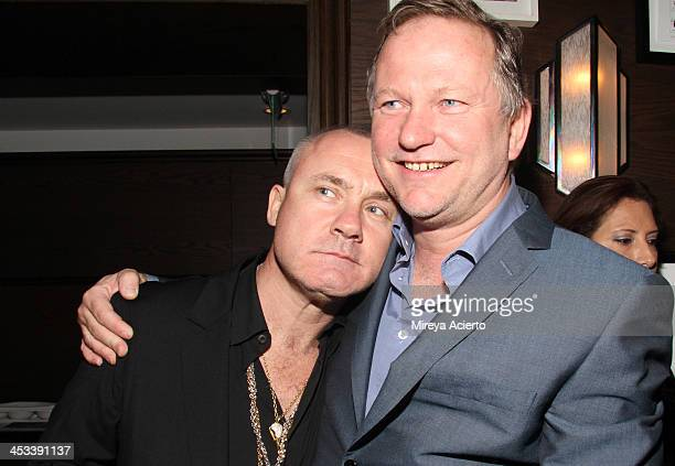 Artist Damien Hirst and Nick Jones at the Tracey Emin dinner hosted by Phillips and Vanity Fair at Cecconi's at Soho Beach House on December 3 2013...