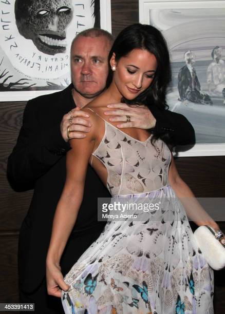 Artist Damien Hirst and Roxie Nafousi at the Tracey Emin dinner hosted by Phillips and Vanity Fair at Cecconi's at Soho Beach House on December 3...