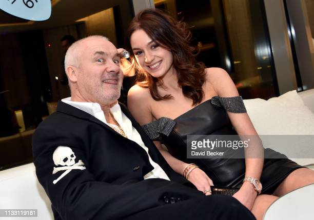 Artist Damien Hirst and Sophie Cannell attend the The Empathy Suite designed by Damien Hirst unveiling at Palms Casino Resort on March 01 2019 in Las...