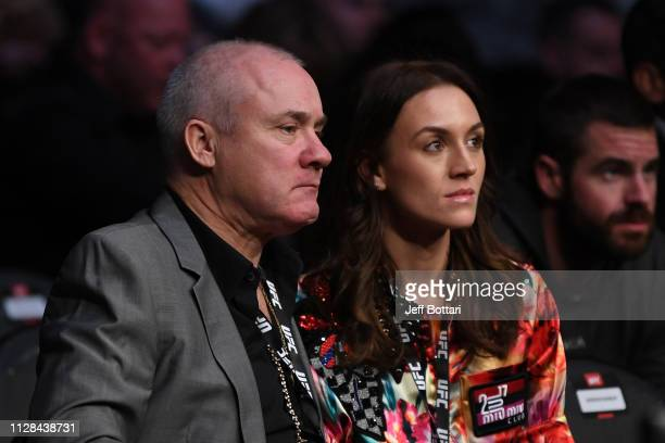 Artist Damien Hirst attends the UFC 235 event with girlfriend Sophie Cannell at TMobile Arena on March 2 2019 in Las Vegas Nevada