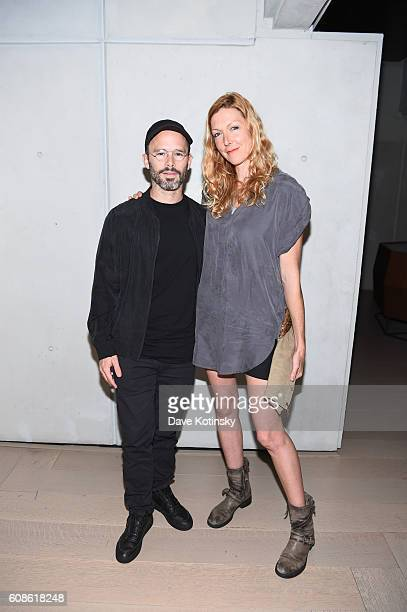"Artist Daniel Arsham and Film Director Megan Raney Erins attends the Daniel Arsham ""Colorblind Artist: In Full Color"" at Spring Place on September..."