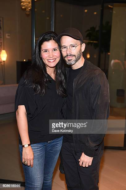 "Artist Daniel Arsham and wife attend the Daniel Arsham ""Colorblind Artist: In Full Color"" at Spring Place on September 19, 2016 in New York City."