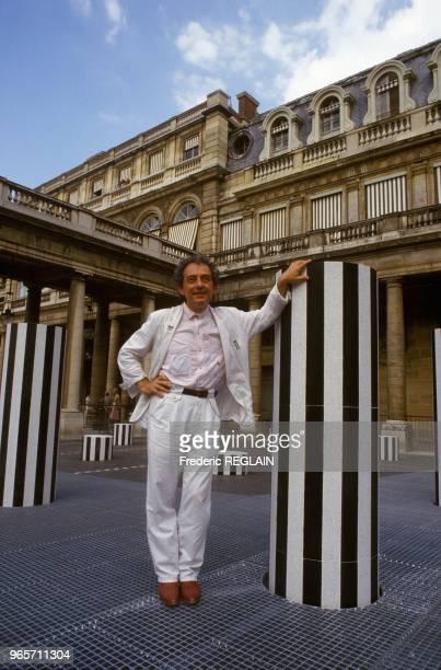 Artist Daniel Buren and His Famous Columns at the Palais Royal in Paris June 30 1986