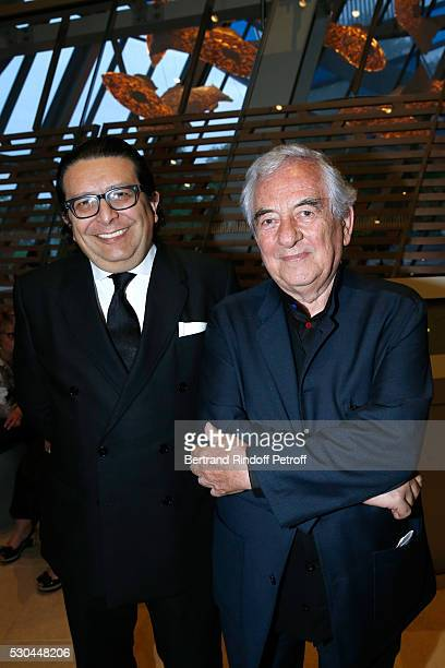 Artist Daniel Buren and his Mexican Galerist Hilario Galgura attend the Observatory of Light Work in Situ Foundation Louis Vuitton presents a...