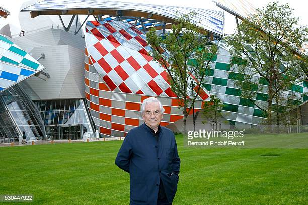Artist Daniel Buren attends the Observatory of Light Work in Situ Foundation Louis Vuitton presents a Temporary Work by Daniel Buren Press Preview on...