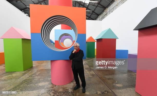 Artist Daniel Buren with his work 'Like Child's Play ' at Carriageworks on July 6 2018 in Sydney Australia It is Buren's first solo show in Australia...