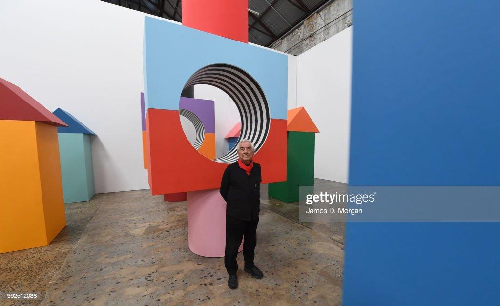 French Artist Daniel Buren Unveils Installation For First Australian Show : News Photo