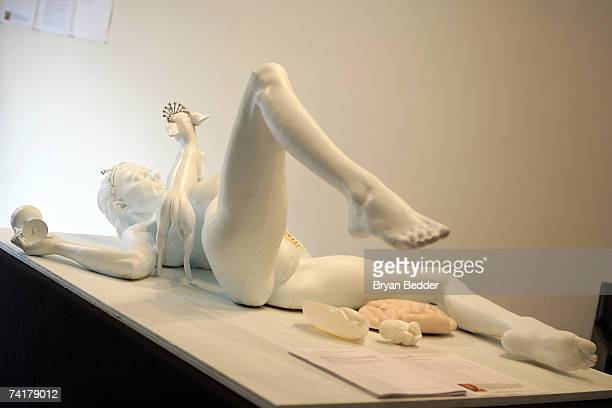 Artist Daniel Edwards' test mold sculpture called Paris Hilton Autopsy appears at the Capla Kesting Fine Art Gallery on May 17 2007 in New York City