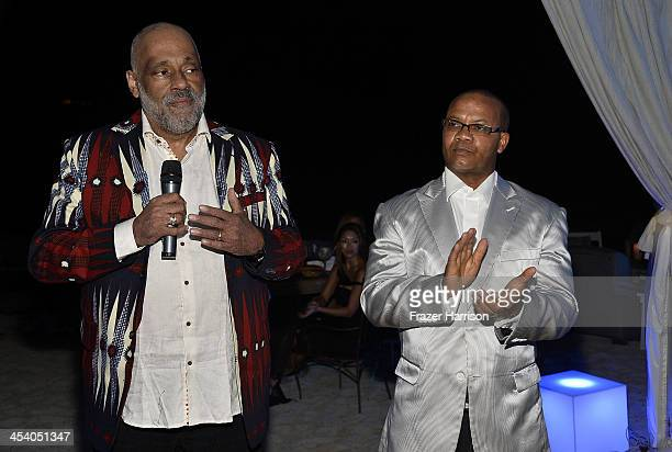 Artist Daniel Simmons Jr and Andre Guichard attend the Bombay Sapphire artisan series finale dinner hosted by Russell Simmons and Tom Colicchio at...